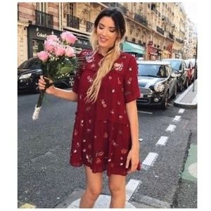 Zara Floral Embroidered Dotted Mesh Dress